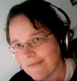Heather Smith with headphones