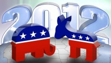2012 republican elephant and democrat donkey