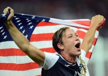 Abby Wambach with U.S. flag
