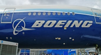 Boeing logo on airplane
