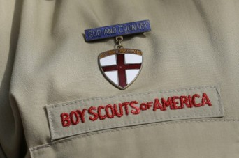 Boy Scouts of America insignia on uniform shit