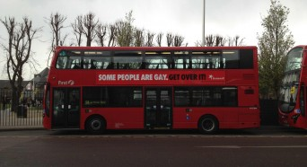 British Bus with pro-gay sign