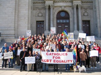 Catholics rallying for LGBT equality.