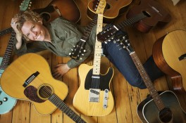 Singer songwriter Catie Curtis with guitars