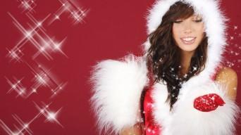 Attractive woman in Santa suit
