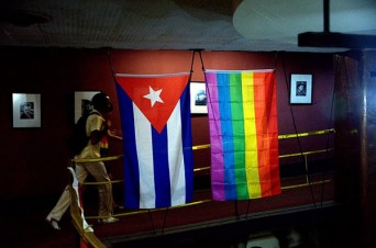 Cuban and LGBT flags