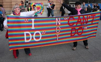 "DOMA protestors with ""I Do not ""Can't Do"" sign"