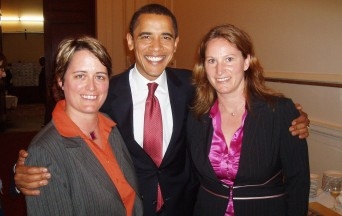 Deborah Mizeeur with wife Heather and President Barack Obama