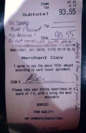 Restaurant charge slip