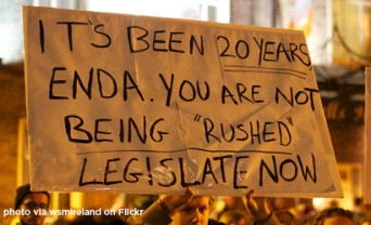 ENDA protest sign