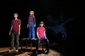 Beth Malone, Sydney Lucas, and Alexandra Socha play Alison in Fun Home