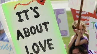 It's About Love marriage equality protest sign