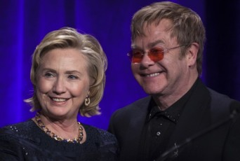 Hillary Clinton and Elton John
