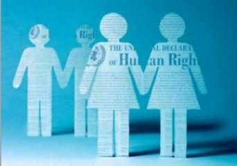 Human Rights graphic with two cartoon women holding hands