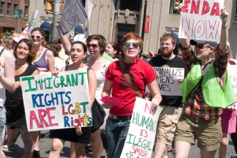 Protestors rally for immigration and LGBT rights
