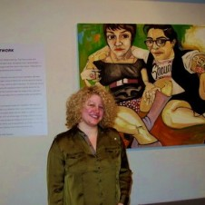 "Washington DC artist Lisa Marie Thalhammer poses with her work ""Desires for Connectivity: Shauna & Jaime,"" oil on canvas"