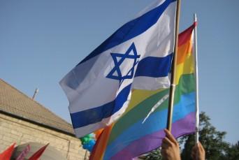 Israeli and rainbow flags
