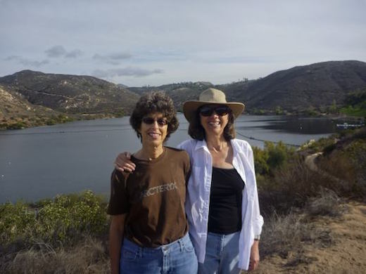 Zoe and her GF on the trail at Lake Poway.