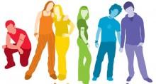 Rainbow colored cartoon youth