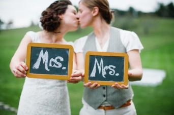 Lesbian brides kissing