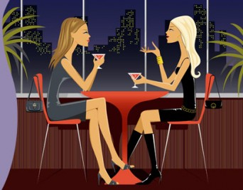 Cartoon with two women having drinks