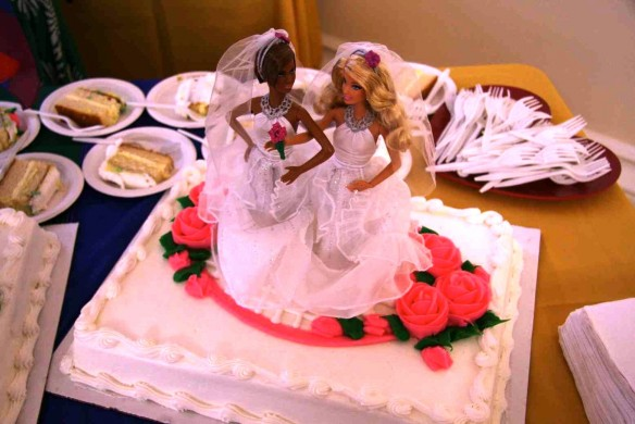 Lesbian wedding cake topper