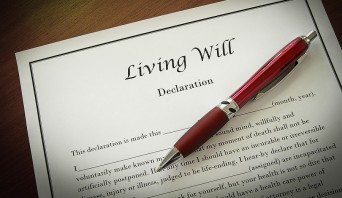 Living Will with red pen