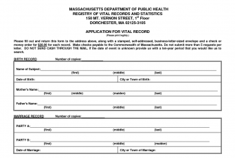 Massachusetts birth certificate
