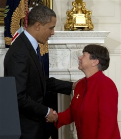 President Obama shakes hands with Mary Jo White