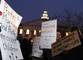 Anti-marriage equality protestors outside Maryland capital