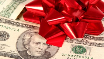 Money with a red bow