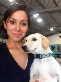 Natalie Garcia with rescue dog