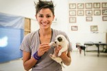 Natalie Garcia with small puppy