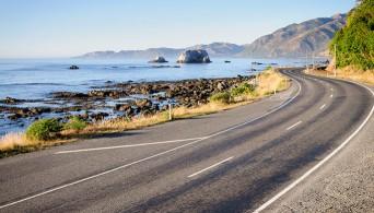Shoreline along road in New Zealand