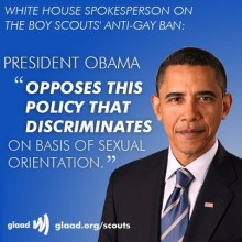 Obama opposes Boy Scout ban on gays