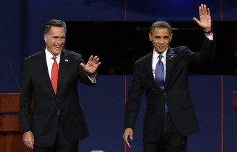Obama and Romney at the second Presidential debate 2012