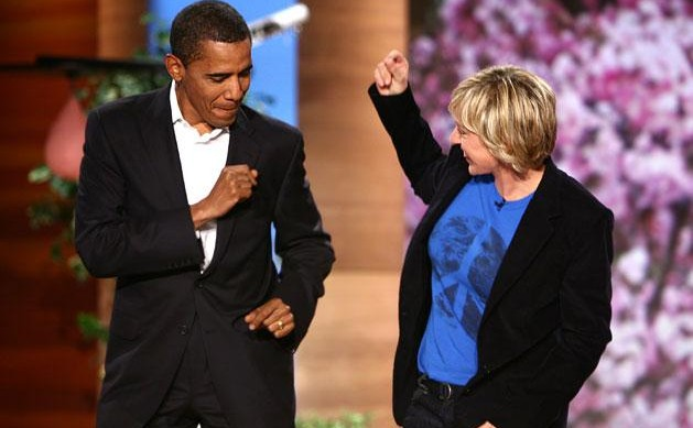 Barack Obama dancing with Ellen DeGeneres