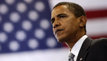 Barack Obama with US flag