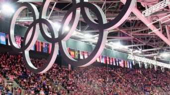 Olympic rings inside arena