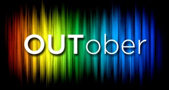 Outober sign with rainbow background