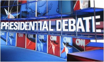 Presidential debate sign on CNN