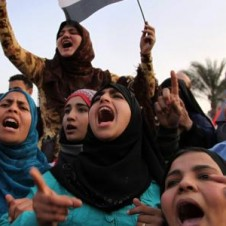 Women protesting in Tahrir Square, also known as Martyr Square, in Cairo.