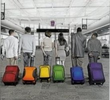Rainbow suitcases