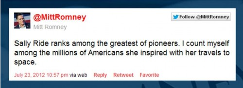 Romney Tweets condolences for Sally Ride