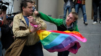 Russian LGBT protestor attacked