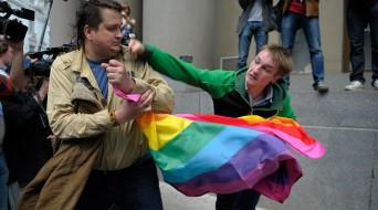 Russian LGBT protestor attacked