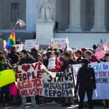 Marriage equality protesters outside the Supreme Court
