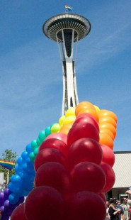 Seattle Space Needle with rainbow balloons