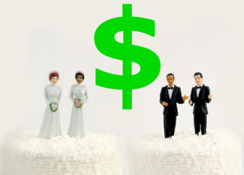 Same sex wedding cake toppers with dollar sign