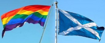 Scottish flag and gay pride flag